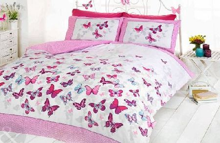 GIRLS BUTTERFLY BEDDING - Reversible Polka Dot Cotton Rich Duvet Cover Bed Set Pink ( white purple teal ) Single Duvet Cover ( kids childrens )