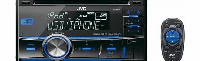 JVC KW-R500 Double Din Car Stereo System with Full Speed iPod Control and Bluetooth Ready
