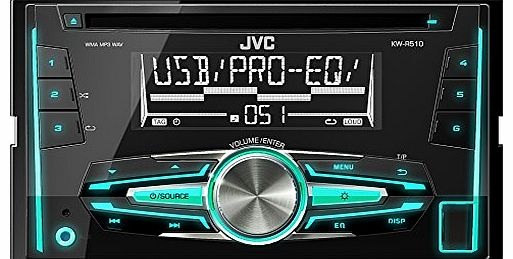 JVC KW-R510 Double Din Car Stereo with Front USB/AUX Input
