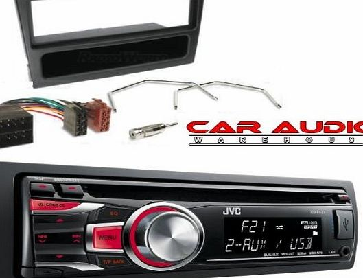 VAUXHALL CORSA/COMBO STEREO/RADIO FITTING KIT FASCIA/FACIA PLATE AERIAL ADAPTOR ISO LEAD & KEYS.INCLUDES A JVC KD-R421 SINGLE CD/MP3/USB PLAYER. (Please Note Stereo Illumination may vary)