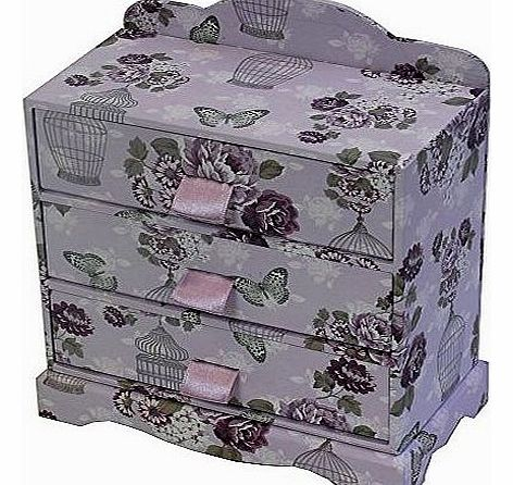 Vintage Bird Cage 3 Drawer Jewellery Make-up Bedroom Storage Box