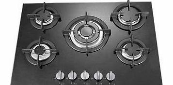 Kitchens North West 5 burner black glass built in gas hob with heavy duty burners 90cm
