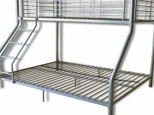 FoxHunter New Silver Metal Triple Children Sleeper Bunk Bed Frame No Mattress Double Bed Base Single On Top
