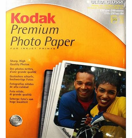 Premium Photo Paper for Inkjet Printers - Ultra Glossy, 210x297mm, 230gsm - 20 Sheets