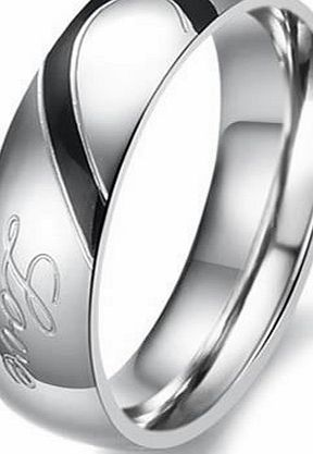 Jewellery Lovers Mens Ladies Heart Shape Titanium Stainless Steel Promise Ring ``Real Love`` Couples Engagement Wedding Bands, Colour Silver Black, for Him, Mens, Size Z (with Gift Bag)