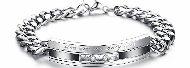 Jewellery Mens Cubic Zirconia Stainless Steel Bracelet, Love Couples Valentines Day Gift, ``You are my only love``, Black Silver (with Gift Bag)