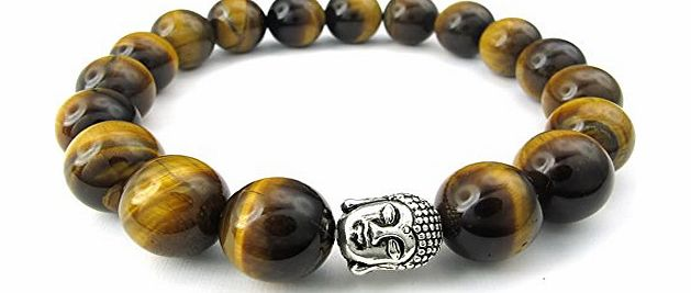 Jewellery Mens Tiger Eye Gemstone Bracelet, 12mm Beads, Buddha Mala, Brown Silver (with Gift Bag)