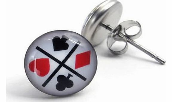 Jewellery Stainless Steel Unisex Mens Stud Earrings Set, Poker, 1 Pair 2pcs, Color White (with Gift Bag)