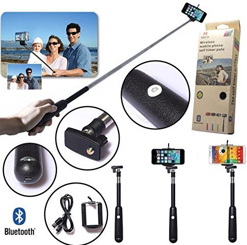 Black Universal Wireless Bluetooth Extendable Self-portrait Shutter Monopod Handheld Selfie Stick for iPhone 5/5s/5c, iPhone 4/4s, iPod Touch, Samsung, HTC, Motorola, LG, Sony, Camcorder/Came