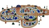 110 pce Wooden Road and Rail set with vehicles and buildings