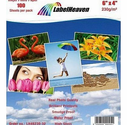 100 Sheets 6``x4`` 230g/m² Photo paper: very glossy and waterproof photo paper from LabelHeaven. Compatible with all Brother, Canon, HP, Lexmark and many other Ink Jet and photo Printers.