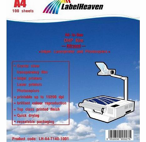 100 sheets Inkjet/Laser overhead projector film OHP (transparency film), A4 (210x297mm) from LabelHeaven, crystal clear, compatible with Inkjet and Laser printers
