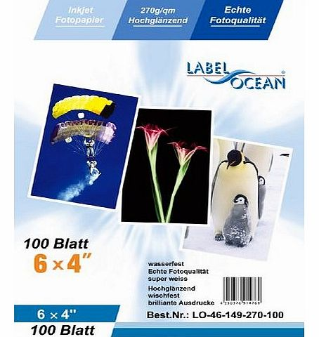100 Sheets 6x4 270g/m² Photo paper: very glossy and waterproof photo paper, compatible with all current Ink Jet and Photo Printers from LabelOcean