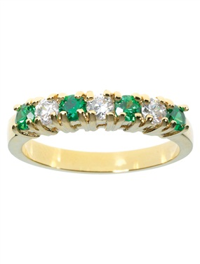9ct Gold Plated Emerald and Cubic