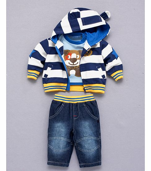 Ladybird Three Piece Boys Dog Stripe Hoodie Top
