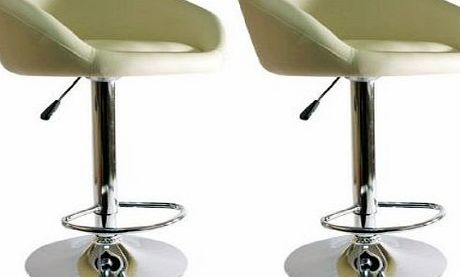 Lamboro 2 X CREAM BREAKFAST BAR STOOLS FAUX LEATHER BARSTOOLS KITCHEN STOOL NEW CHAIRS