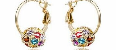 Swarovski Elements Sparkling Gold Loop Earrings encrusted with Multicolor Austrian Crystal For Women Black Friday Sale New 2014 Style
