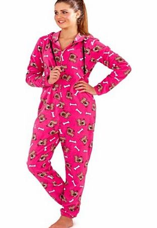 LD Outlet KIDS CHILDRENS TEEN ONESIES FULL LENGTH FLEECE ONESIE HOODED ALL IN ONE JUMPSUIT BATHROBE DOG 7 - 8 YEARS
