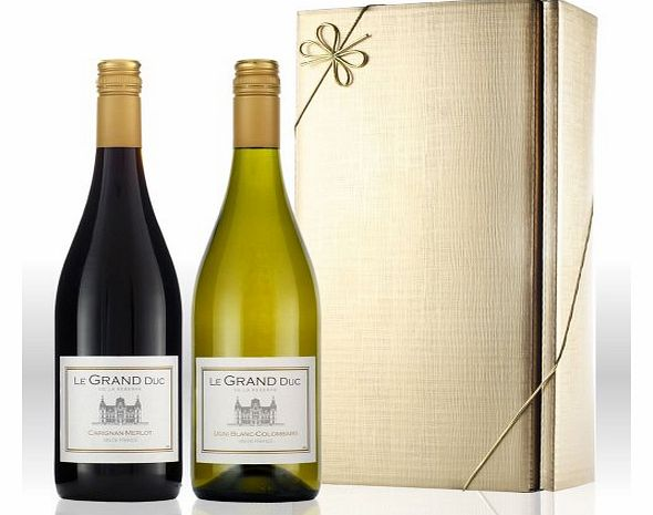 Le Grand Duc French red and white wine twin pack gift set
