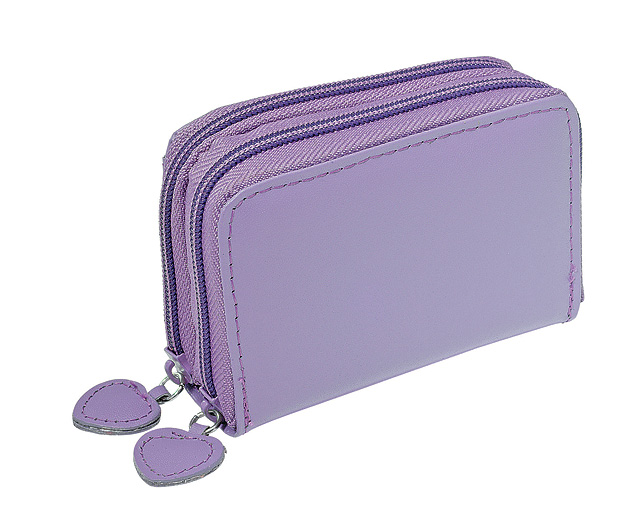 leather Concertina Purse Lilac Personalised