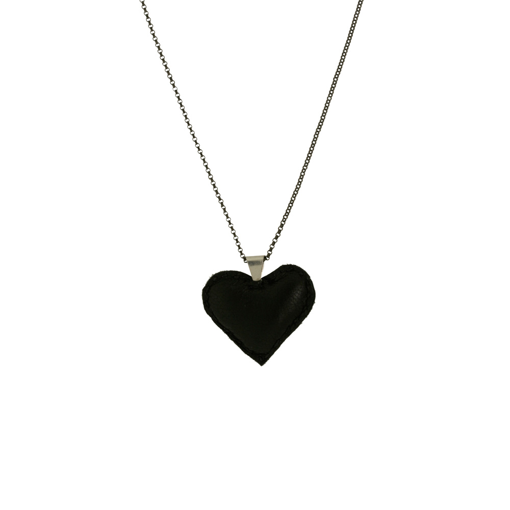 Puffy Heart Necklace- Black