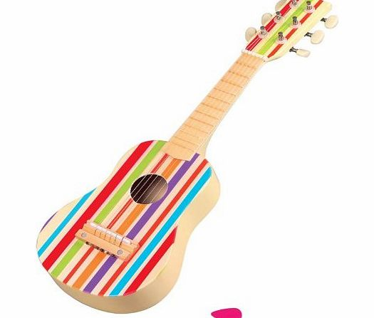 LELIN WOODEN STRIPE STRIPED DECOR GUITAR CHILDRENS KIDS MUSICAL INSTRUMENT  3YRS