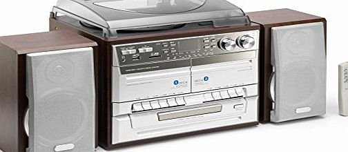 TCD-990 Midi Hi-Fi System with Turntable, CD Player, AM/FM Radio, Double Cassette Deck, USB/SD Card Playback