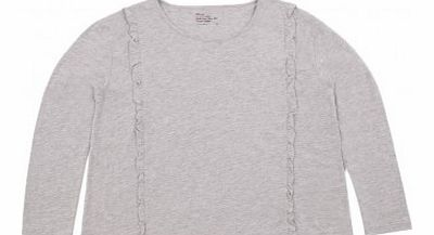 Tender side frills T-shirt Heather grey 36,38