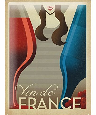 Tin Sign Bar Party Wall Decoration French wine blue bottle of red wine woman Metal Plate 8X12``