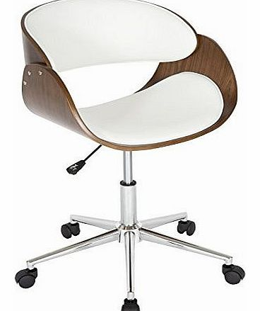Levv Curved Padded Office Chair - Walnut/White