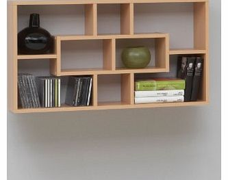 PREMIUM Stylish Beech Colour Wall Mounted Shelf Unit Rack for CD DVD Books Ornaments by DMF