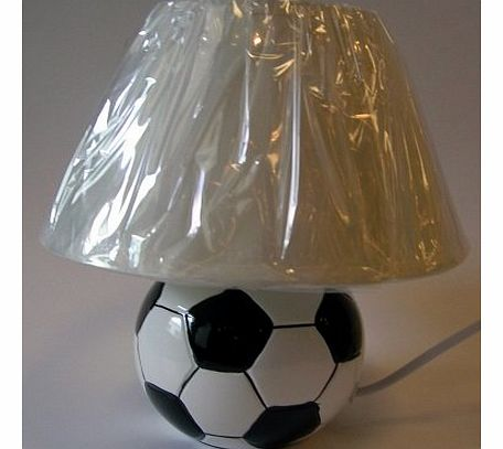 Black n White Football Bedside Table Lamp and White Shade