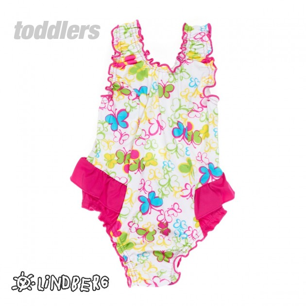Girls Lindberg Frilly Swimsuit - Butterfly Pink