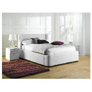 King Leather Storage Bed, White &