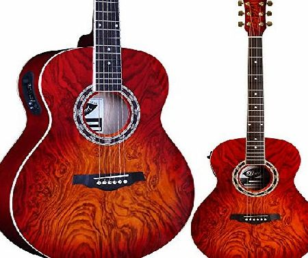 Lindo Guitars Lindo LDG-RA04CS Lava Series Electro Acoustic Guitar with Custom A-4T Pre-Amp