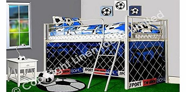 Kids/Children Football Goal Soccer Silver Metal Bunk Mid Sleeper Cabin Blue 3 FT Single Bed Frame Boy Play Tent Included