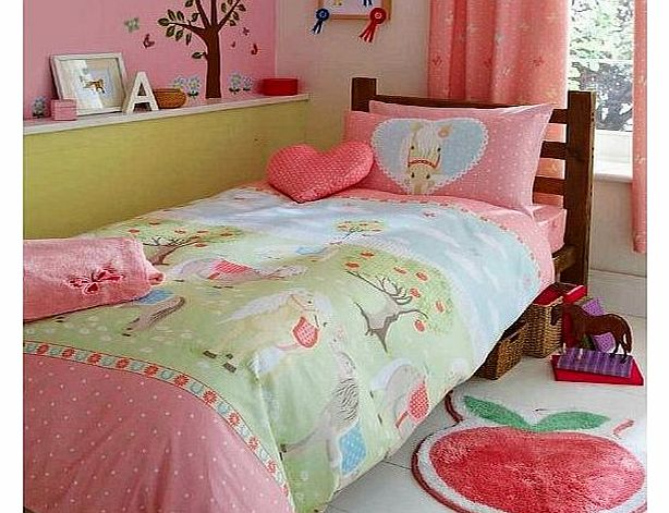 Pony Single Girls Bed Duvet Cover Set Bedding Set