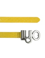 Logo Buckle Yellow Reptile Stamped Leather Belt
