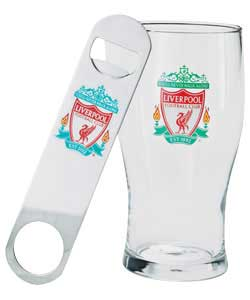 Pint Glass And Bar Style Bottle Opener Gift Pack
