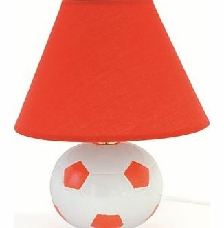 L3118RD 40 Watt Football Ceramic Table Lamp with Shade, Red