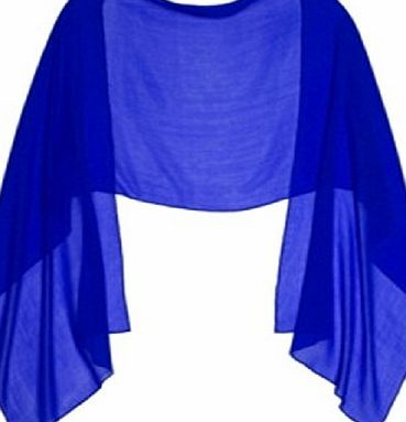 LondonProm ROYAL BLUE CHIFFON Wrap Stole Ideal for Evening Wear , Wedding , Parties , Bridesmaid , Bridal Wear