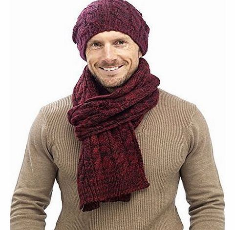 Mens Luxury Fairisle Bobble Set Cable Knit Slouch Beanie Bobble Hat + Scarf Gift Set Warm Winter Gents Boys Red/Blue