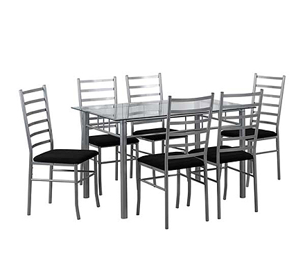 Lincoln Rectangular Dining Set with Clear Glass