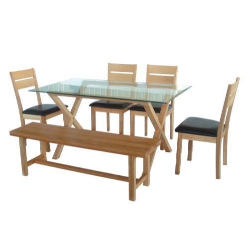 LPD Cadiz Dining Set - with 4 chairs and 1 bench