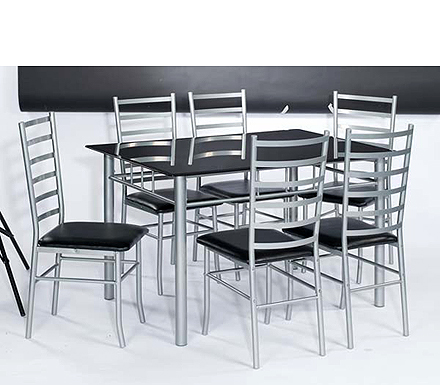 Norwich Rectangular Dining Set with Black Glass