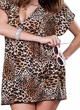 luckyemporia Ladies Leopard Beach dress Cover up Sarong Kaftan Summer wear Swimwear (XL)