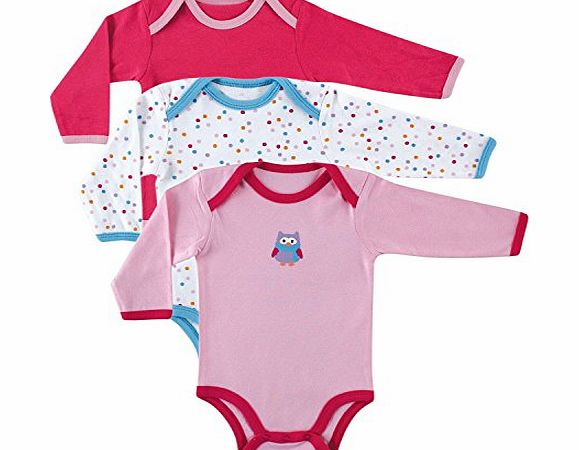 Luvable Friends 3 Pack Long Sleeve Baby Bodysuits Vests (0-3 Months, Pink Owl)
