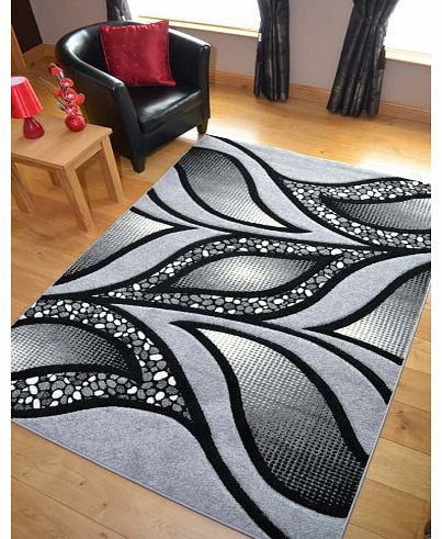 Modern Silver And Black Quality Hand Carved Rugs. Available in 3 Sizes (80cm x 150cm)