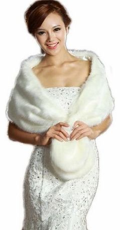 LuYan Womens Wedding Bridal Faux Fur Round Tail Fluffy Wrap Size 10 Ivory