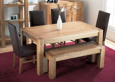 Oak Dining Table 150cm and 4 Brown Leather